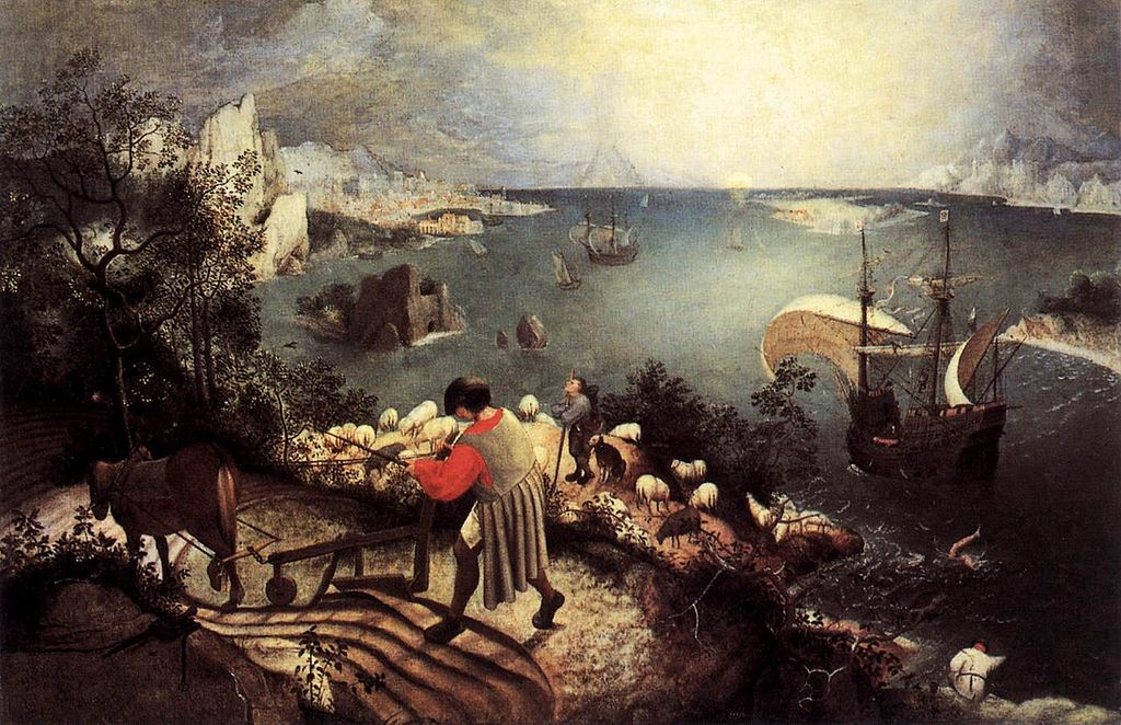 "Painting that inspired Auden's ""Musee des Beaux Arts"" Pieter Brueghel the Elder (1526/1530–1569) [Public domain], via Wikimedia Commons"