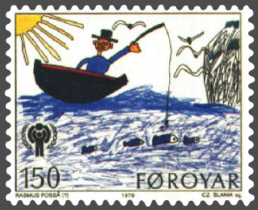 Faroe Islands stamp, International Cildrens' Year - Child Drawings. Man in boat, fishing.[Public Domain - Via Wikimedia Commons]